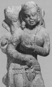 Yakshi pressing her breast Mathura art
