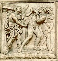 Expulsion from Eden St Petronio cathedral Bologna, Italy