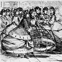 Women holding a  cage crinoline of metal hoops