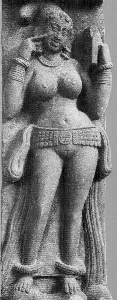 Yakshi holding a mirror