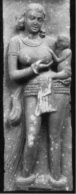 Mother carrying  her child upon her hip Mathura art, Sanghol