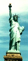 Statue of woman  symbolizing Liberty New York