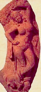 Yakshi holding a branch (red sandstone) Matura art