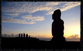 Idols of Easter island at sunset