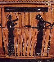 Weaving women Picture on a Greek vase