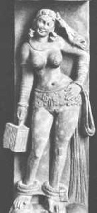 Yakshi carrying a parrot holding a cage