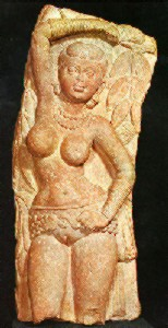 Yakshi holding a branch (yellow sandstone) Matura art
